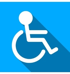 Handicapped Person Flat Long Shadow Square Icon vector image