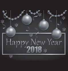 happy new year 2018 silver and black vector image