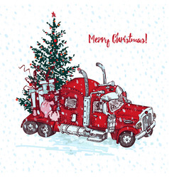holiday card hand drawn red truck with christmas vector image