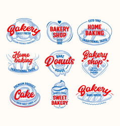 home baking tags and labels set isolated on white vector image