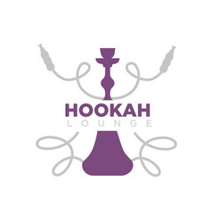 Hookah lounge promotional emblem with shisha and vector