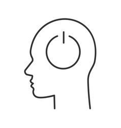 human head with power button inside linear icon vector image