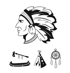 Indian icons set vector image