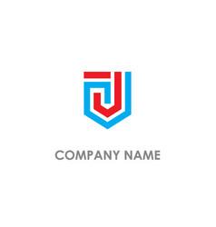J initial shape line shield logo vector
