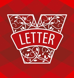 Logo letter V with a vegetative ornament on a red vector image