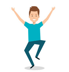 man celebrating with a leap vector image