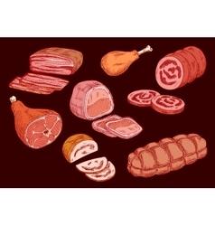 Meat food set butcher shop elements vector