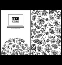 menu cover floral design with black and white vector image
