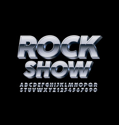 metallic logo rock show with silver 3d font vector image