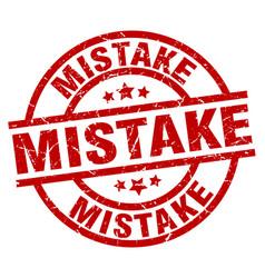 Mistake round red grunge stamp vector
