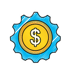 money coin currency gear business investment vector image