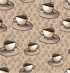 Pattern with cup of coffee on a beige background vector