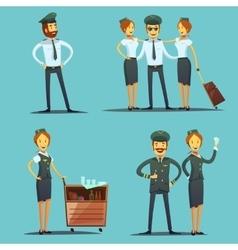 Pilot And Stewardess Cartoon Set vector image