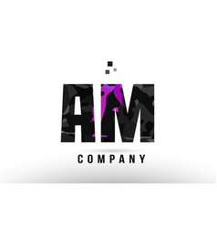 Purple black alphabet letter am a m logo vector