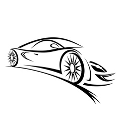 racing car sketch lines vector image
