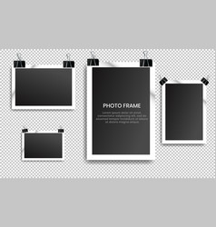 Realistic old photo frame collection with binder vector
