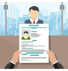 Recruiters hands holding cv and candidate i vector image vector image