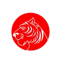 Red Stamp Tiger vector