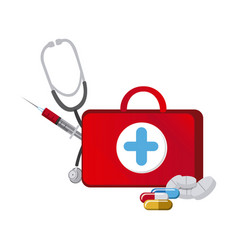 Red suitcase health with stethoscope syringe and vector