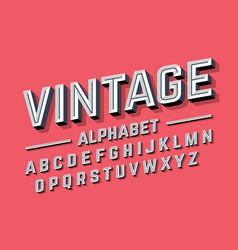 Retro style 3d alphabet vector