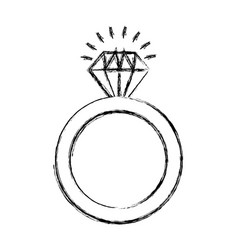 Ring with diamond isolated icon vector