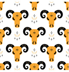 Seamless pattern with ram skull vector