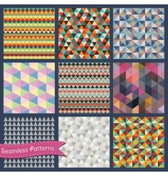 Seamless retro geometric triangle background set vector