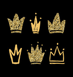 set abstract golden silhouettes crowns hand vector image