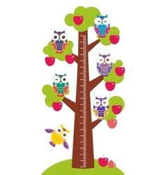 set bright colorful owls Big apple-tree with green vector image