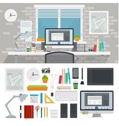 set designer workspace icons flat vector image