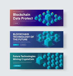 set of horizontal web banners with isometric of vector image
