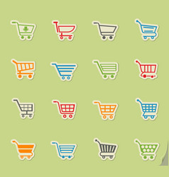 Shopping cart icon set vector