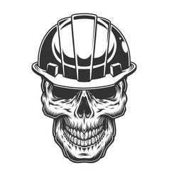 Skull in miner helmet vector