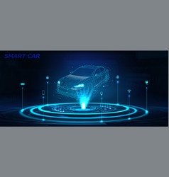 Smart car isometric hologram in hud style vector