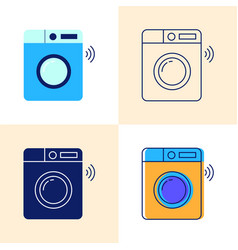smart washing machine icon set in flat and line vector image