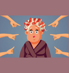 Society blaming poor middle age woman vector