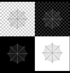 spider web icon isolated on black white and vector image