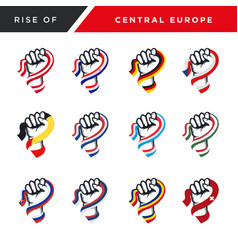 Spirit rising fist hand central europe flag vector