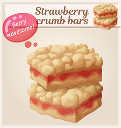 strawberry crumb bars pastry cartoon vector image
