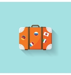 Suitcase in a flat style Travel bag Trolley for vector image vector image