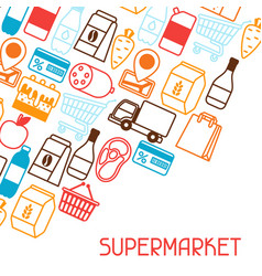 supermarket background with food icons vector image
