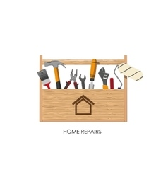 Toolbox set tools for home repairs vector