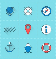 Travel icons icon set in flat design style For web vector