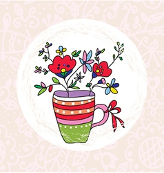 Vase and flowers greeting card vector