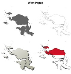 West Papua blank outline map set vector
