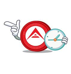 With clock ark coin character cartoon vector