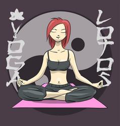 yoga girl in lotus position yin yang symbol vector image