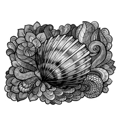 Zentangle stylized seashell line art colored in vector image