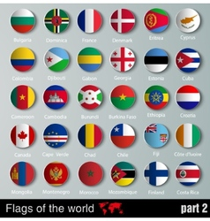 Flags of all countries with shadows vector image vector image