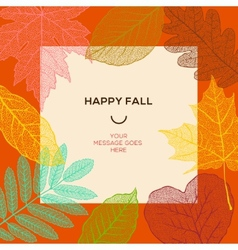 Happy fall template with autumn leaves and simple vector image vector image